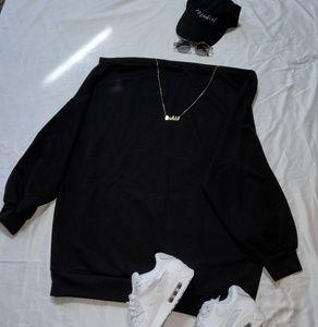 Boohoo Plus Dresses - Off the shoulder sweatshirt dress